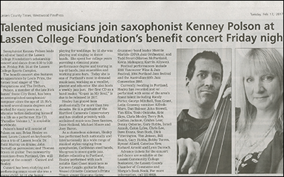 """Talented musicians join saxophonist Kenney Polson at Lassen College Foundation's benefit concert Friday night"""